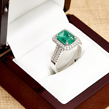 Inel Cadou i1902smdi din Aur sau Platina cu Smarald Emerald si Diamante