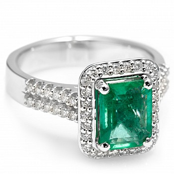 Gold ring with Emerald and Diamonds i1902smdi