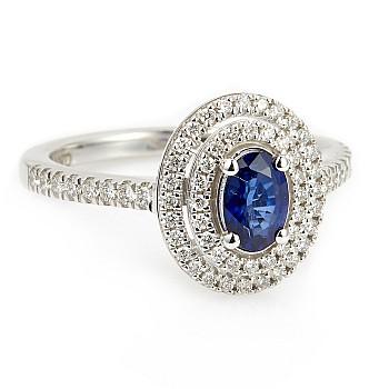 Inel cadou Vintage i1903SFODI din Aur sau Platina cu Safir Oval si Diamante incolore