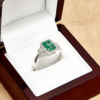 Inel cadou i2737Smemdi din Aur cu Smarald Emerald si Diamante
