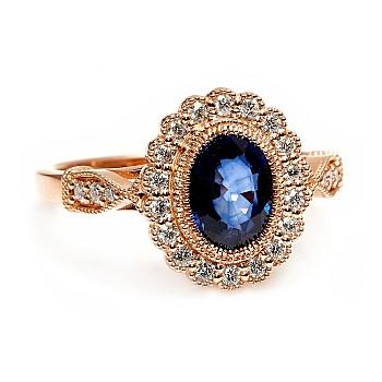 Inel vintage cadou i2938SfOvDi din Aur cu Safir Oval si Diamante incolore