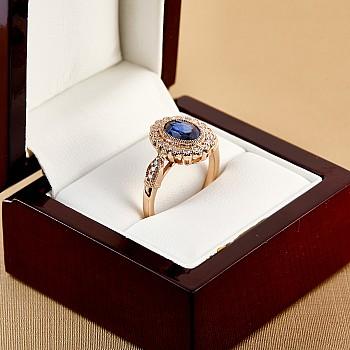 Inel vintage cadou i2938SfOvDi din Aur sau Platina cu Safir Oval si Diamante incolore
