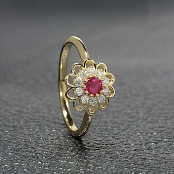 Engagement Ring i559RbDi with Ruby and Diamonds from Gold