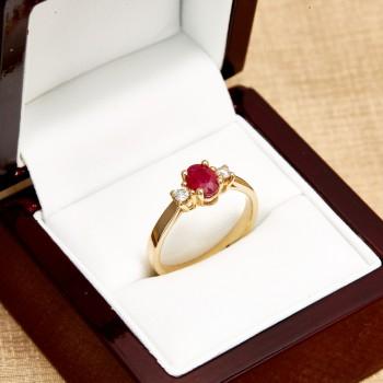 Inel cadou i015RboDi din Aur cu Rubin si Diamante