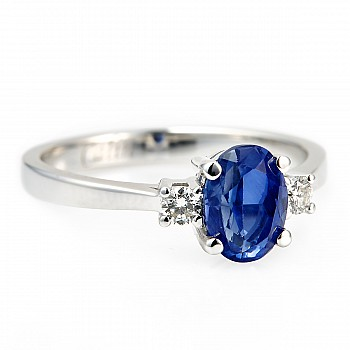 Gift Ring i015SfODi with Sapphire and Diamonds from Gold or Platinum