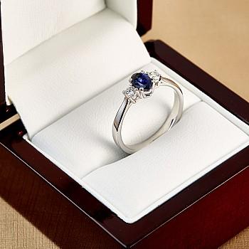 Inel cadou i015SfODi din Aur sau Platina cu Safir si Diamante