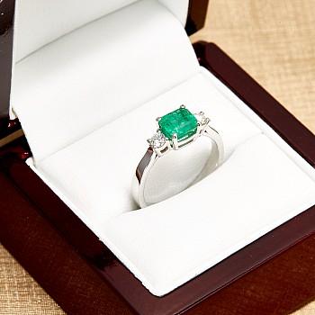 Inel Cadou i015SmEmDi din Aur cu Smarald emerald si Diamante
