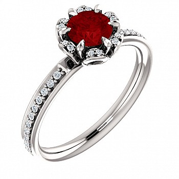 Gold ring with Ruby and Diamonds 121997RbDi
