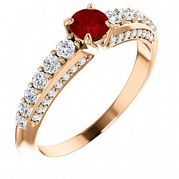 Gold engagement ring with Ruby and Diamonds 122219RbDi