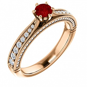 Gold engagement ring with Ruby and Diamonds 122474RbDi