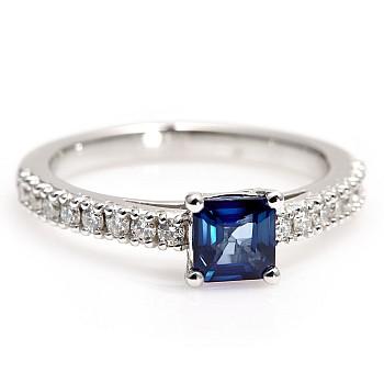 Inel de logodna i645SfAdi din Aur sau Platina cu Safir Asscher si Diamante