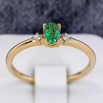Inel Cadou i020SmODi din Aur cu Smarald si Diamante
