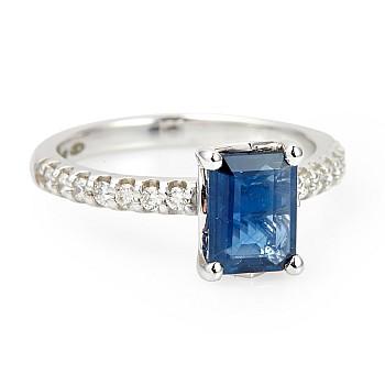 Inel de logodna i1186SfEdi din Aur sau Platina cu Safir Emerald si Diamante