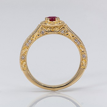 Vintage Engagement Ring i1353rbdi with Ruby and Diamonds from Gold