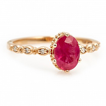 Gold ring with 7x5mm Oval cut Ruby and Diamonds i616RbODi