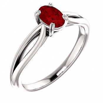 Gold engagement ring with Oval cut Ruby 71627RbO