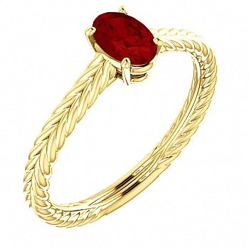 Gold engagement ring with Oval cut Ruby 71746RbO
