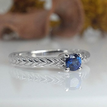 Gold engagement ring with Sapphire 71746Sf