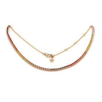 Colier Tennis col2181 din Aur cu Diamant Incolor, Safire Colorate si Rubine