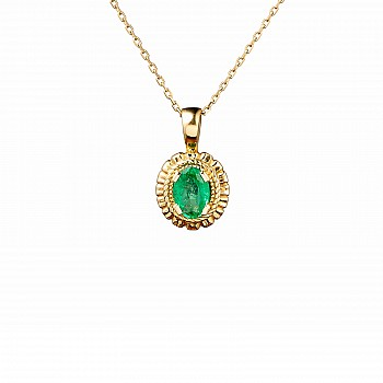 Gold pendant with 6x4 mm oval cut Emerald pan1579Sm
