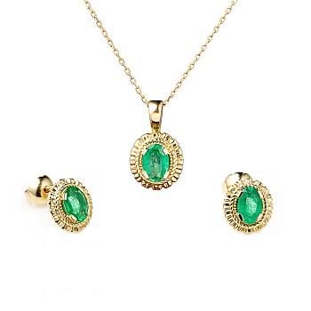 Set set1579Sm Cercei si Pandantiv din Aur cu Smaralde