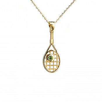 Gold or Platinum Pendant Tennis Paddle Design with Green Diamond pan1722