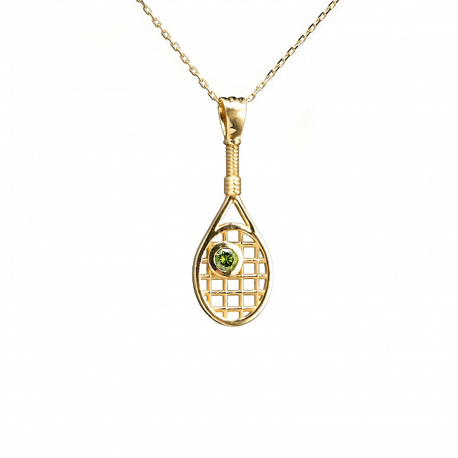 Gold Pendant Tennis Paddle Design with Green Diamond pan1722