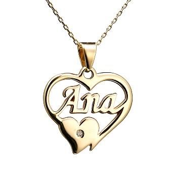 Pandantiv Nume Personalizat pan1754 din Aur cu Diamant