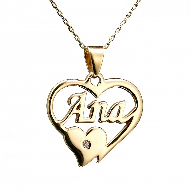 Gold Diamond Pendant with Personalised Name pan1754