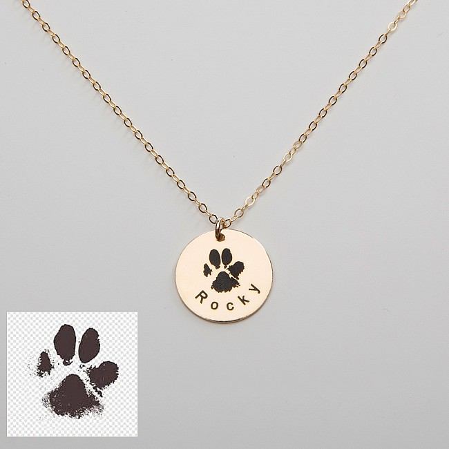 Pendant from Gold or Platinum with Dog Cat Paw Print pan1936