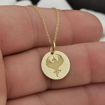 Phoenix Bird Necklace from Gold or Platinum pan2074