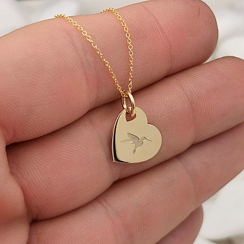 Hummingbird Heart Necklace from Gold or Platinum pan2086