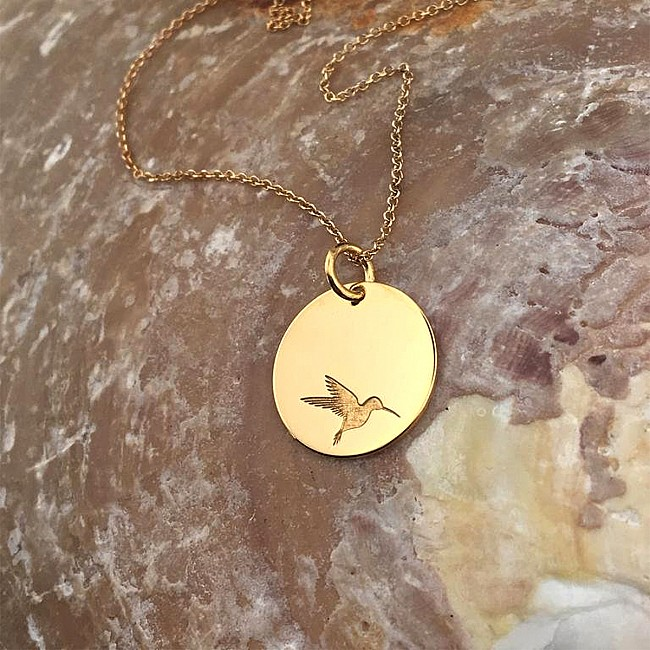 Hummingbird Necklace from Gold or Platinum pan2087