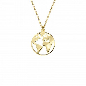 World map pendant from Gold or Platinum pan557