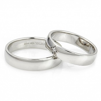 Wedding Bands v015 with Diamond from Gold or Platinum
