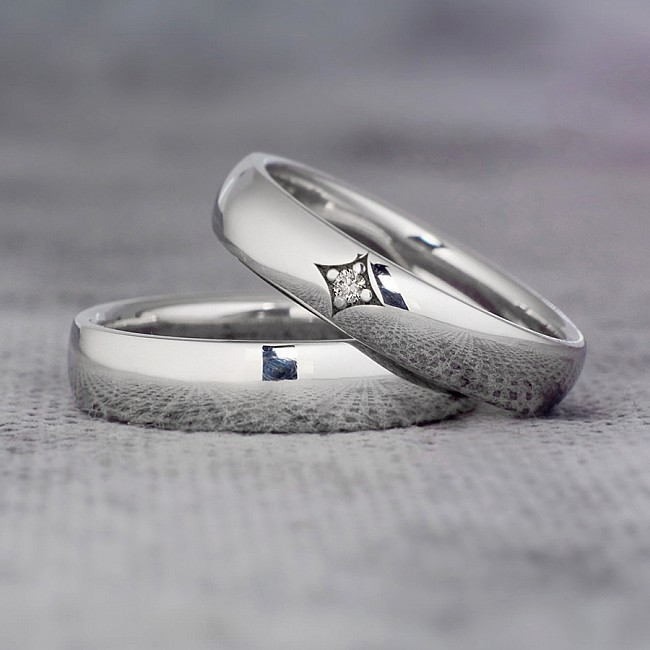 Gold or Platinum wedding bands with Diamond v015