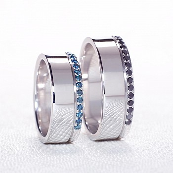 Wedding Bands v038 with Blue and Black Diamonds from Gold or Platinum