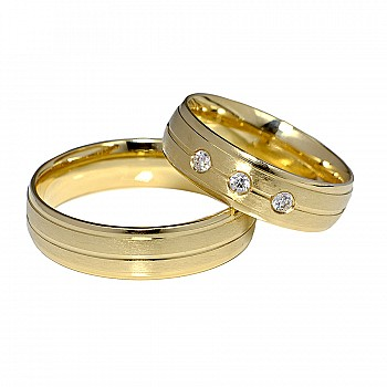 Wedding Bands v047 with Diamonds from Gold