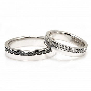 Wedding Bands v0801didn with Colorless and Black Diamonds from Gold or Platinum