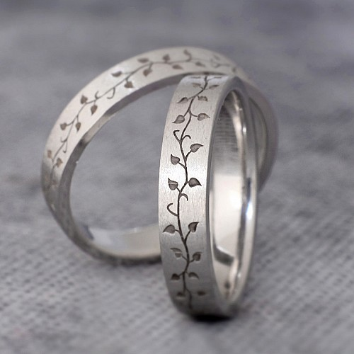 Gold or Platinum wedding bands with nature inspired laser pattern v1189