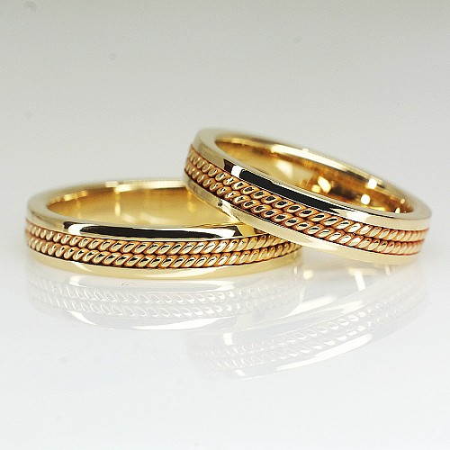 Double Braided Handcrafted Gold Wedding Bands v1272