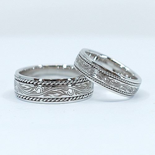 Gold or Platinum wedding bands with double rope and laser engraving v1294