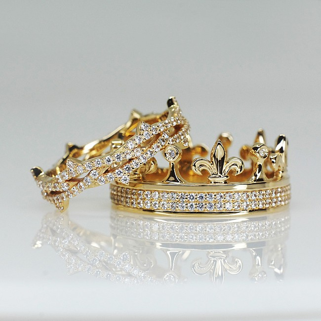 Regal Crown Gold or Platinum wedding bands with Diamonds v1483