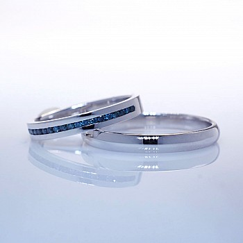Gold or Platinum wedding rings with Blue Diamonds v163
