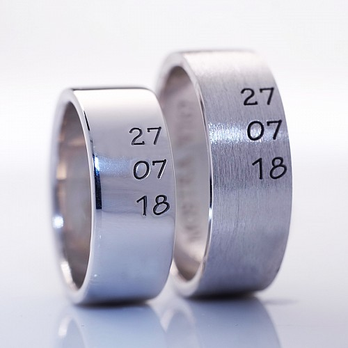 Gold or Platinum wedding bands with First Day v167