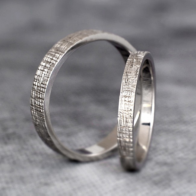 Bark tree Gold or Platinum wedding bands v191