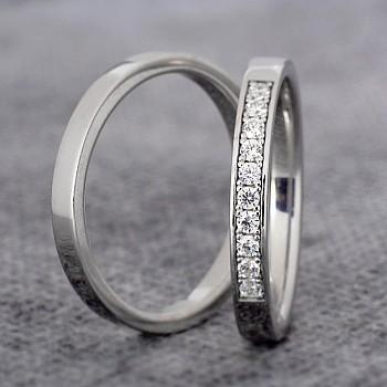 Verighete Simple vp358 din Platina cu Diamante