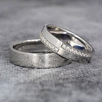 Verighete v359 din Aur sau Platina cu Diamante