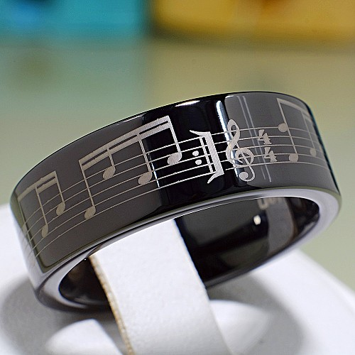 Tungsten treated PVD wedding bands with laser engraving v702